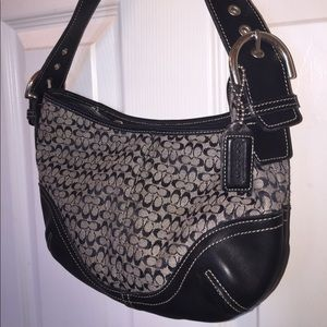 Coach Like New Gray & Black Hobo Bag Purse